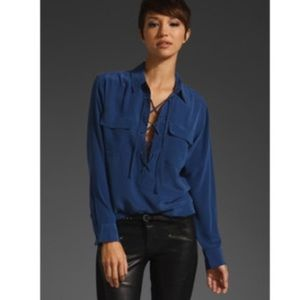 Equipment Knox sill lace up blouse